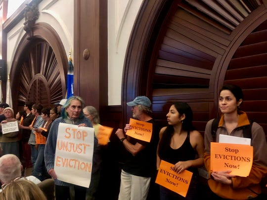 Residents advocate for an eviction moratorium at the Ventura City Council meeting. Advocates say there's been a rise in evictions ahead of a new tenant protection law that goes into effect on Jan. 1.