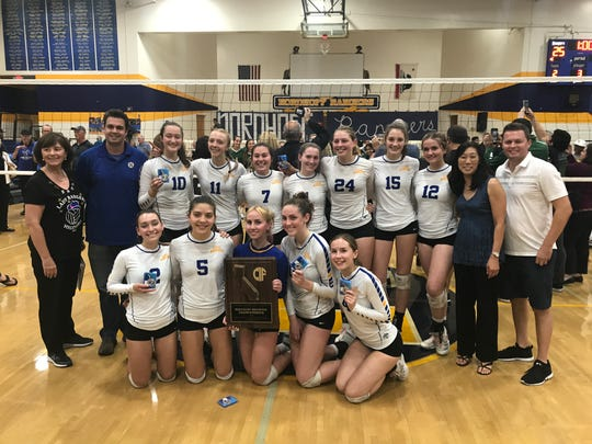 The Nordhoff High girls volleyball team poses with the championship plaque after winning the CIF-State Division IV Southern California championship on Tuesday night. Top-seeded Nordhoff won in four sets over second-seeded St. Bonaventure in Ojai.