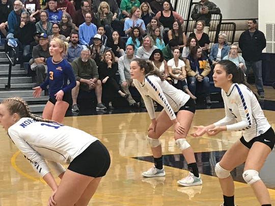 Nordhoff's Ashley Johnson, Holly Neville, Kolbe Fink and Devin Clausen prepare for a point during Tuesday night's CIF-State Division IV Southern California regional championship. Top-seeded Nordhoff won in four sets over second-seeded St. Bonaventure in Ojai.