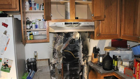 This was the scene at an apartment on Arcade Drive in Ventura after crews extinguished a kitchen fire Tuesday.