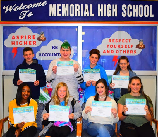 Millville Memorial High School's Students of the Month for October are: (front row, from left) Tiarra Guy, Autumn Mutschler, Madelyn Bratton and Elizabeth Pansa; and (back row, from left) Andrew Laird, Matthew Greensmith, Noah Uzzolina and Brianna Gillman. Sarah Sorrantino, John Morford and Alexis Matos are not pictured.