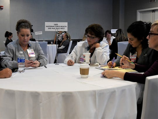 An interview panel waits for its next interviewee at the Kaweah Delta RN Interview Day on Tuesday at the Visalia Convention Center.