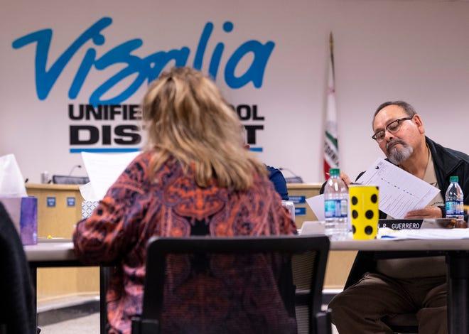 Visalia Unified School Board members work with Luan Burman Rivera on Tuesday, November 19, 2019. Burman Rivera is a California School Boards Association Governance Educator/Consultant.