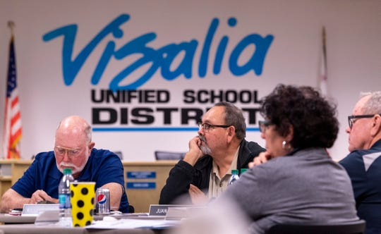Visalia Unified School Board members work with Luan Burman Rivera on Tuesday, November 19, 2019. Burman Rivera is a California School Boards Association Governance Educator/Consultant.