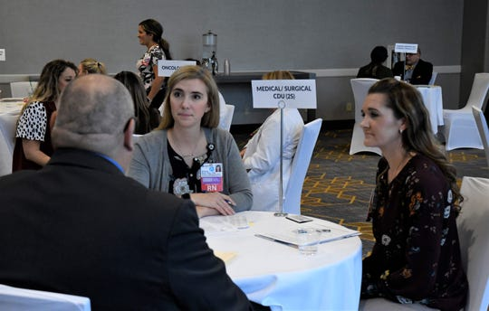 An interview is conducted during Kaweah Delta's RN Interview Day on Tuesday at the Visalia Convention Center.