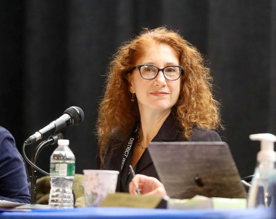 New Rochelle School Superintendent Laura Feijoo was shouted down by those in the audience when she tried to speak during a meeting of the school board at Daniel Webster Elementary School Nov. 19, 2019. Community members attended the meeting to show their support of suspended New Rochelle High School football coach Lou DiRienzo Superintendent and to voice their anger at the superintendent.