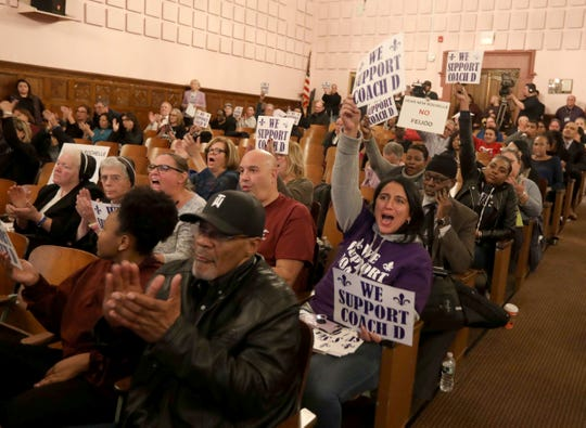 New Rochelle residents shout their displeasure with school Superintendent Laura Feijoo during a meeting of the New Rochelle school board at Daniel Webster Elementary School Nov. 19, 2019.