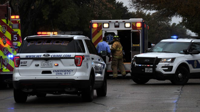 Wichita Falls police work the scene of a major accident Nov. 20, 2019, near the intersection of Seymour Road at Hiawatha Drive.