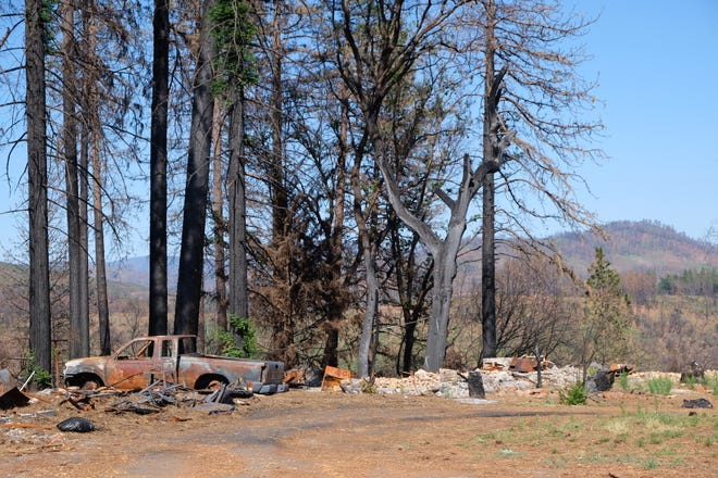 Burned debris from the Camp Fire in Paradise, California, in June 2019.