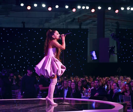 Ariana Grande will be up for two Grammys, including Album of the Year, when the awards are presented in Los Angeles next month.