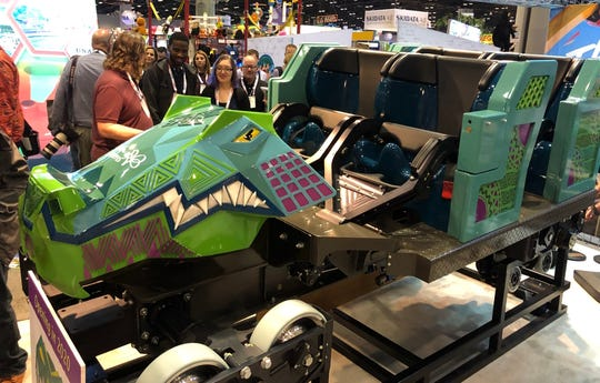 At the IAAPA Expo, ride manufacturer Rocky Mountain Construction unveiled one of the crocodile-inspired lead cars for Iron Gwazi, a record-breaking hybrid wooden-steel coaster coming to Busch Gardens Tampa in 2020.