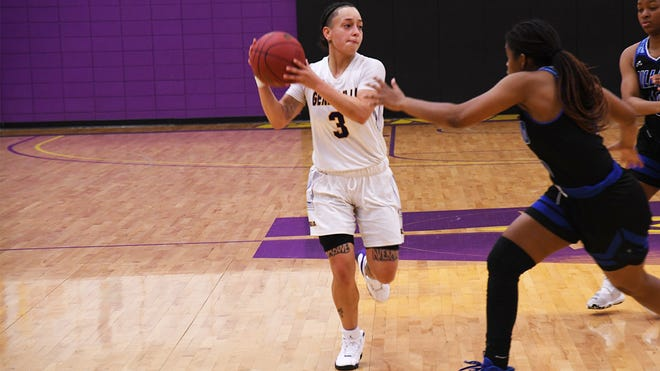 LSUA senior guard Brittany Hall (3) recorded LSUA's first ever triple-double and broke the program's single-game assists record during Tuesday's game against Dillard.