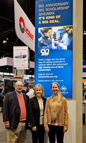 For its 90th anniversary, Miller Electric Mfg. LLC will provide 90 scholarships in 2020. William Rice, Jr., chairman of American Welding Society Foundation (left), Monica Pfarr, executive director of the AWS Foundation (center) and Becky Tuchscherer, group president of Miller (right) announced the news in the Miller booth at the FABTECH exposition in Chicago.