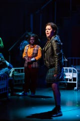 "Kelly McIntyre as Sheila Nail (right) with Amina Faye as Susannah Son in  Two River Theater's world premiere of ""Love in Hate Nation"" by Joe Iconis."