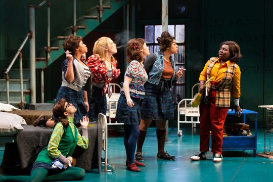 """From left: Sydney Farley (Ya-Ya), Jasmine Forsberg (Rat), Emerson Mae Smith (Kitty), Lena Skeele (Dorothy), Tatiana Wechsler (Judith) and Amina Faye (Susannah Son) in Two River Theater's world premiere of """"Love in Hate Nation"""" by Joe Iconis."""