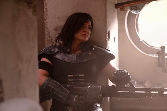 "Gina Carano as Cara Dune in Lucasfilm's ""The Mandalorian,"" now streaming on Disney+."