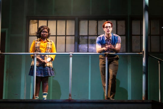 "Amina Faye as Susannah Son and Ryan Vona as Francis  in Two River Theater's world premiere of ""Love in Hate Nation"" by Joe Iconis."