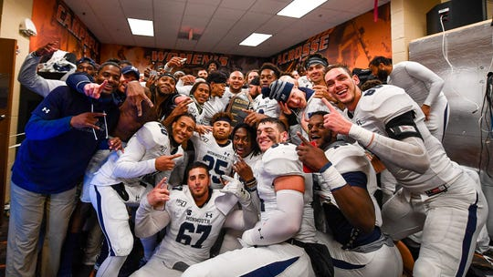 Monmouth players celebrate their win over Campbell last Saturday, which clinched a share of the Big South title and an FCS Playoff berth.