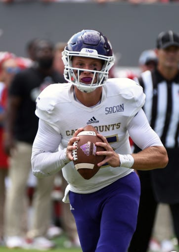 Sep 7, 2019; Raleigh, NC, USA; Western Carolina Catamounts quarterback Will Jones (15) looks to pass during the first half against the North Carolina State Wolfpack at Carter-Finley Stadium. Mandatory Credit: Rob Kinnan-USA TODAY Sports