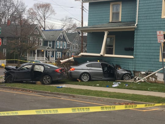 Binghamton police investigate a serious crash at Leroy and Chapin streets Thursday, Nov. 21, 2019.
