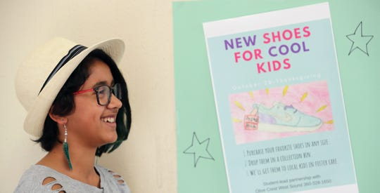 "Ridgetop Middle School seventh-grader Kai Joseph talks about her ""New Shoes for Cool Kids"" program. Joseph and her family have opened their home to several foster children."