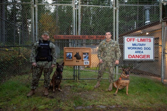 Master-at-Arms 2nd Class Mitchell Wade, far left, military working dog BBrazas, Master-at-Arms 2nd Class Sean Ayoung and military working dog Sicario, far right, pose in front of a memorial placard of Master-at-Arms 2nd Class Sean Brazas after Sicario's retirement at Naval Base Kitsap-Bangor.