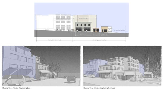 Conceptual views of a hotel that could be built on the west end of Winslow Way.