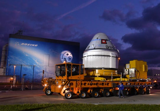 Boeing's Starliner spacecraft rolled out of Space Florida's Commercial Crew and Cargo Processing Facility (C3PF) before dawn at Kennedy Space Center. The spaceship is scheduled to fly in December.