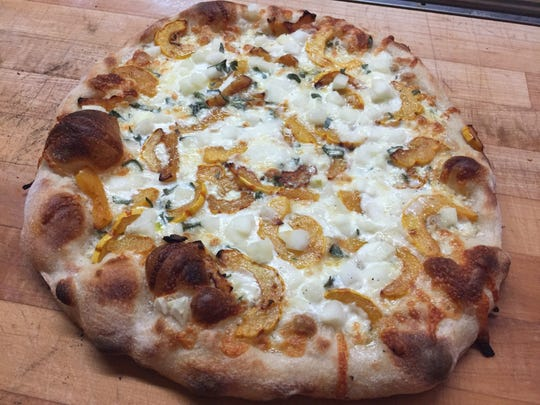 A roasted-delicata-squash pizza at Barrio in Burlington.