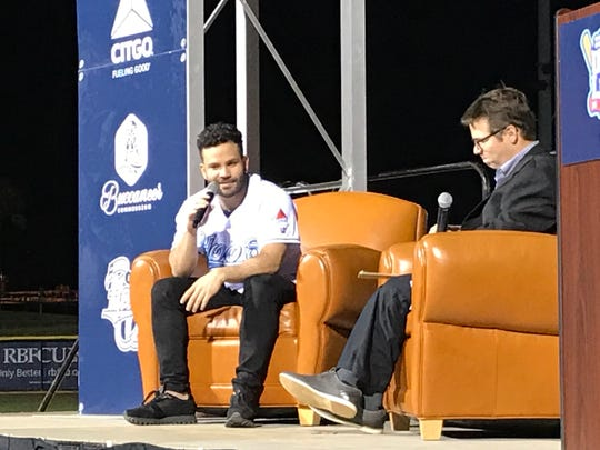 """Jose Altuve spoke with the Hooks' Michael Coffin as part of CITGO's """"Under the Lights"""" fundraiser on Nov. 20, 2019."""