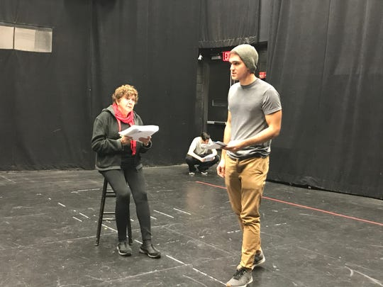 Anthony Diaz, as Howard Unruh, circles Susan Dewey, who plays his mother Freda, in a rehearsal for 'The Walk,' based on the 1949 shooting spree in Camden.