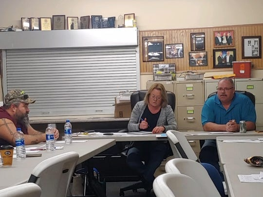 Agricultural Society President Bryan Bethel discusses the Easy Rider contract with board members at the Ross County Fairground on Nov. 20.