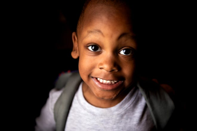 Martavious Stanley, 3, gets ready for school at his home in North College Hill Monday, November 18, 2019. Martavious has disruptive behavior disorder and global developmental delay.