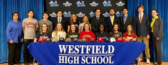 Sixteen Westfield High School seniors sign letters of intent.