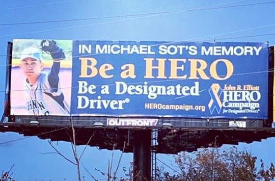 Billboard erected in loving memory of Michael Sot Jr. along Route 35 in Wall Township