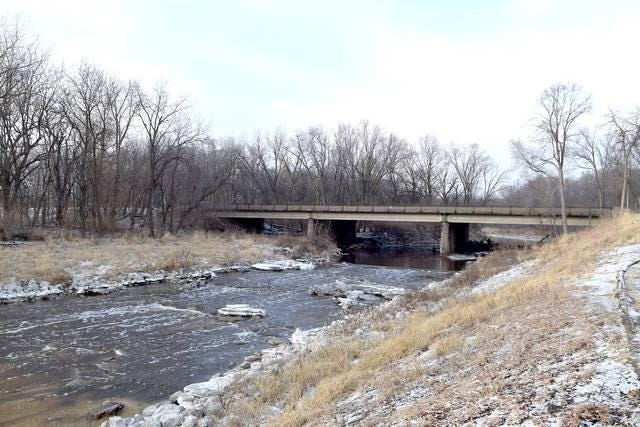 Squaw Creek flows under Lincoln Way in Story County.