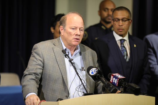 Mayor Mike Duggan talks about officer Rasheen McClain who was killed in the line of duty Thursday, November 21, 2019 at police headquarters in Detroit, Mich.