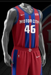 "The Detroit Pistons' new ""City Edition"" jersey for the 2019-20 season."