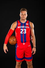 "Blake Griffin models the Detroit Pistons' new ""City Edition"" jersey for the 2019-20 season."