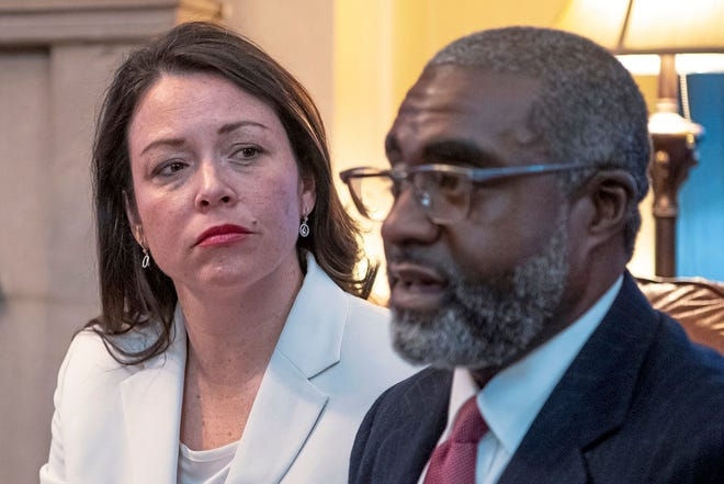 This March 9, 2019, file photo shows Pennsylvania's Allegheny County Controller Chelsa Wagner and her husband Khari Mosley speaking about their encounter with police while on a trip to Detroit, in their home, in Pittsburgh.