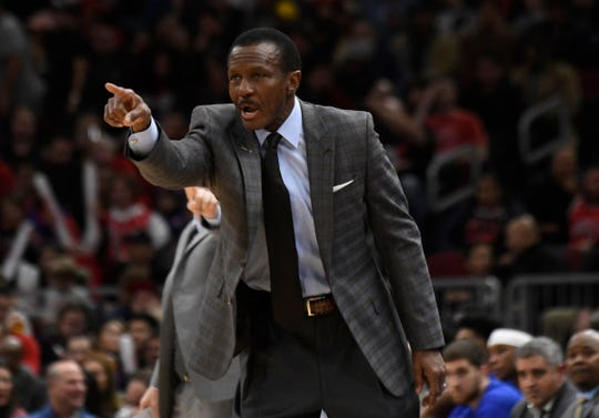 Detroit Pistons head coach Dwane Casey gestures to his team during the first half  at United Center on Wednesday, Nov. 20, 2019, in Chicago.