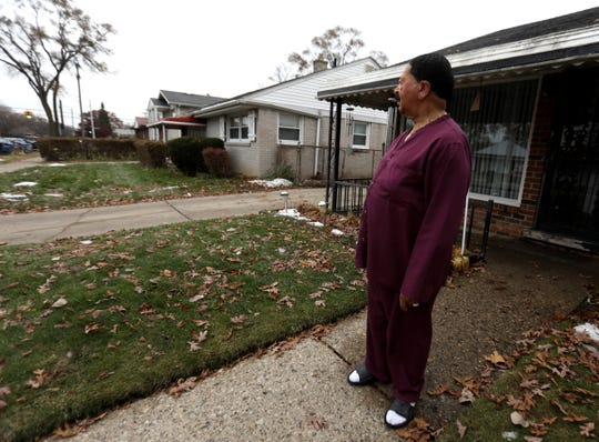 Phillip Wright, 71, of Detroit in front of his home on Thursday morning, November 21, 2019 on Wyoming near Chippewa. Wright said on Wednesday night the suspect in the shooting ran on his driveway and into his backyard.