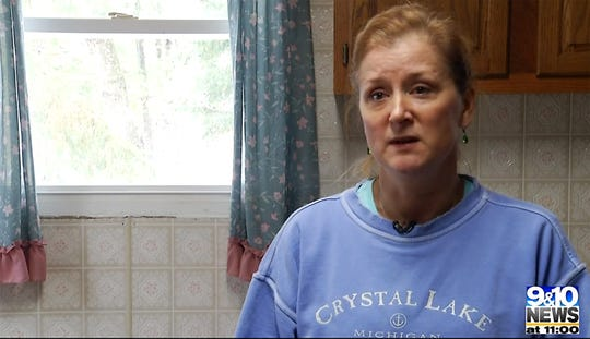 Jenny Bryson in the cabin where her sister Adrienne Quintal disappeared.
