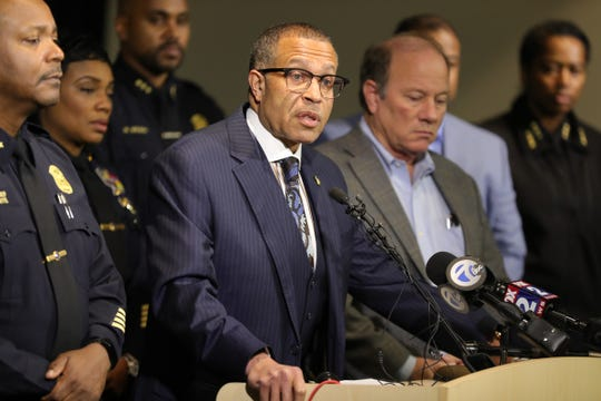 Detroit Police Chief James Craig talks about officer Rasheen McClain, who was killed in the line of duty, during a press conference on Thursday, November 21, 2019 at police headquarters in Detroit, Mich.