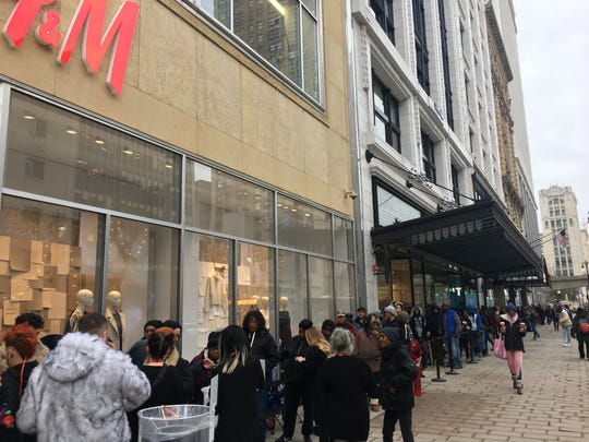 More than 100 people were in line for the Detroit H&M as of 10 a.m.