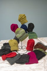 Hand-knitted 'hats for the homeless' by Jocelynn Brown.