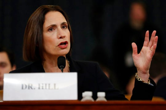 Former White House national security aide Fiona Hill testifies before the House Intelligence Committee on Capitol Hill in Washington, Thursday, Nov. 21, 2019.