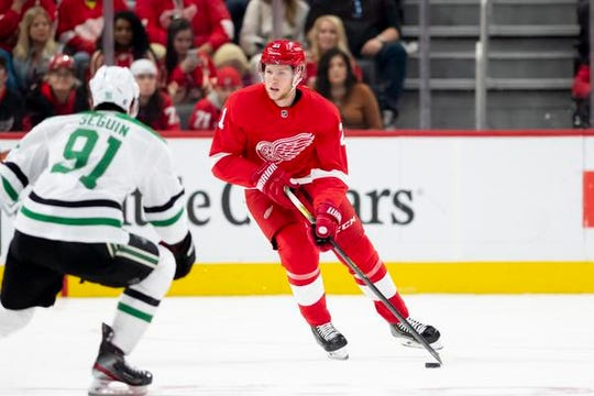 Red Wings defenseman Dennis Cholowski has just six points and is a minus-11 in 20 games this season.