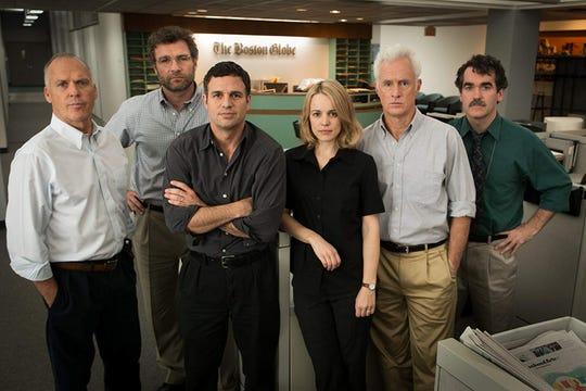 "Michael Keaton, Liev Schreiber, Mark Ruffalo, Rachel McAdams,  John Slattery and Brian d'Arcy James in ""Spotlight."""