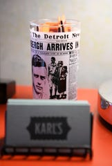 Detroit News glasses are seen around the restaurant at Karl's Coffee Shop.
